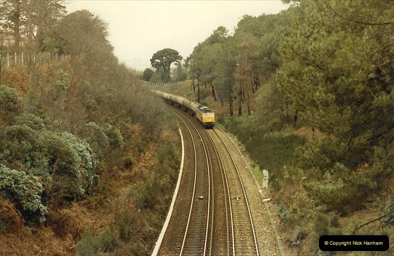 1987-12-28 Class 47 failure rescued by Class 33. Parkstone, Poole, Dorset.  (1)0439