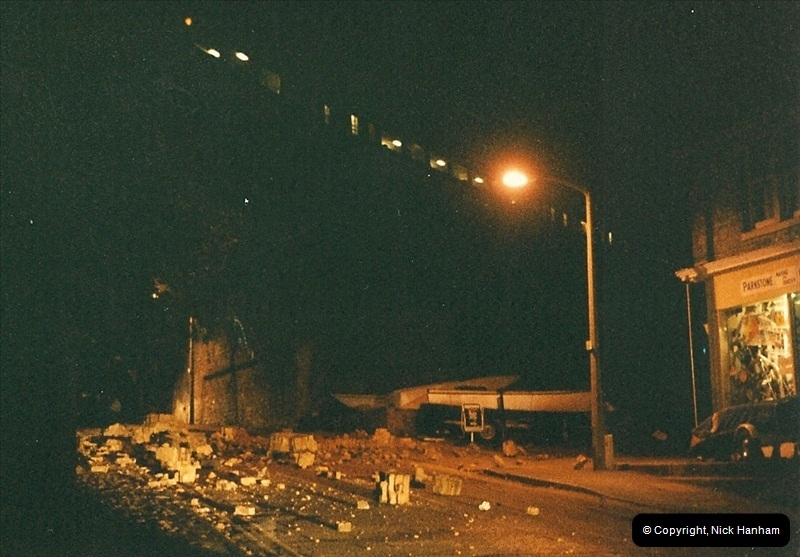 1988 -12-11 Vandals place a cement mixer on the down line at Parkstone station, Poole, Dorset.  (5)0722