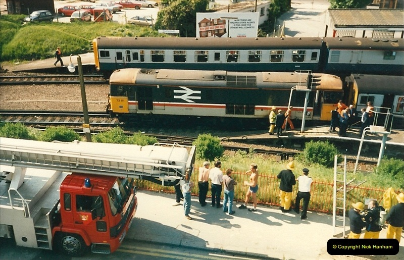 1988-05-17 73111 catches fire @ Bournemouth.  (1)0630