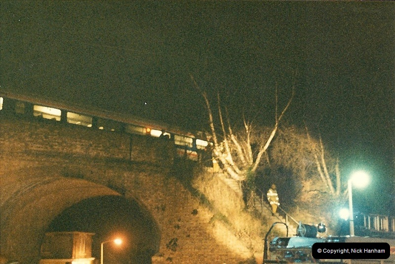 1988-12-11 Vandals place a cement mixer on the down line at Parkstone station, Poole, Dorset.  (1)0677
