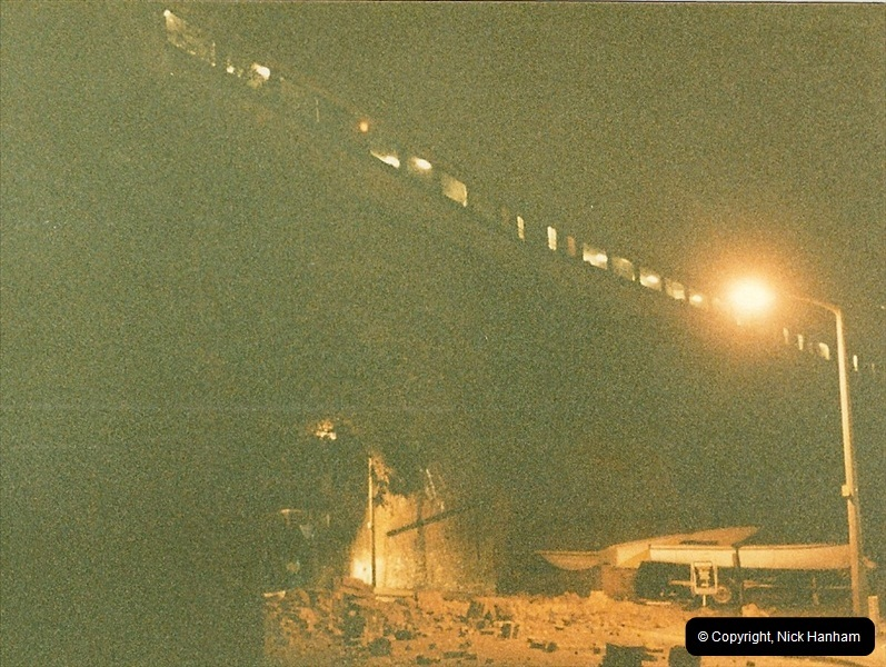 1988-12-11 Vandals place a cement mixer on the down line at Parkstone station, Poole, Dorset.  (2)0678