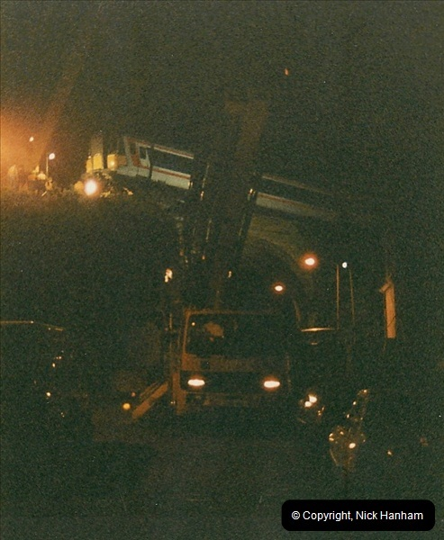 1988-12-11 Vandals place a cement mixer on the down line at Parkstone station, Poole, Dorset.  (10)0686