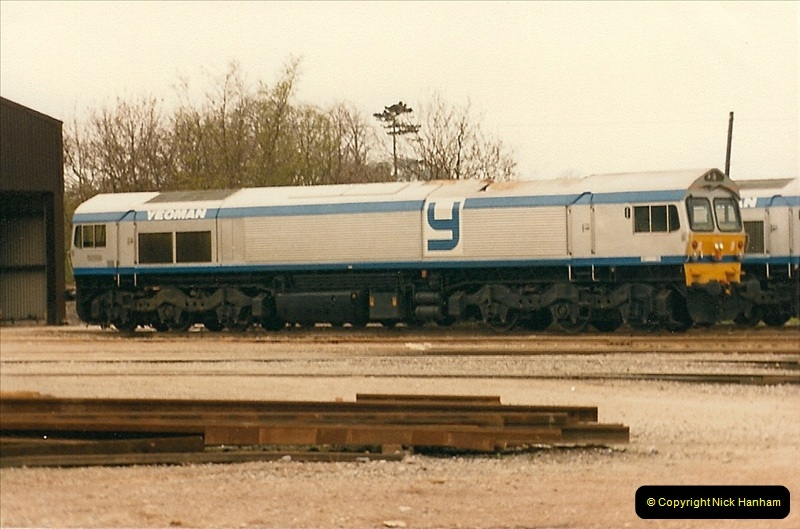 1986-05-18 New class 59s @ Foster Yeomans depot in Somerset.  (2)0172