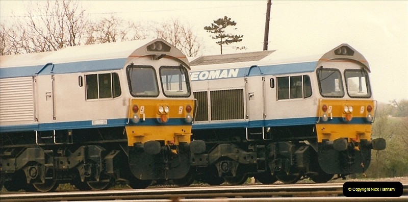1986-05-18 New class 59s @ Foster Yeomans depot in Somerset.  (3)0173