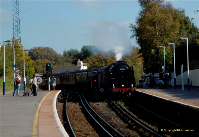 2011-10-15. 70013 @ Branksome on the down Swanage Belle.  (1)114