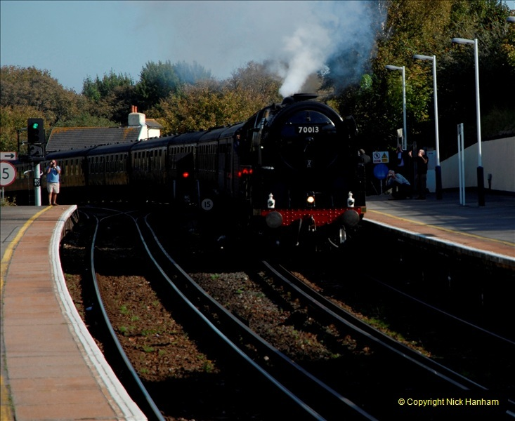 2011-10-15. 70013 @ Branksome on the down Swanage Belle.  (4)117