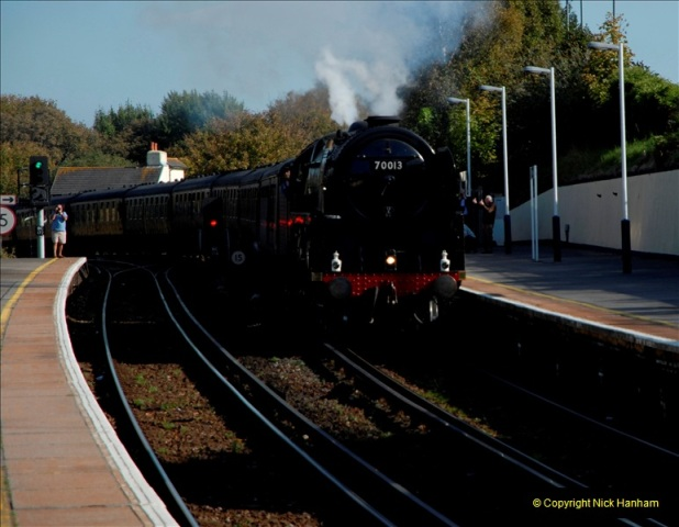2011-10-15. 70013 @ Branksome on the down Swanage Belle.  (6)119
