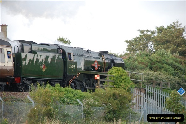 2012-07-09. 35028 Clan Line @ Whitecliffe, Poole, Dorset.  (9)049