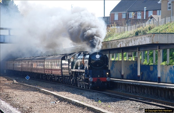 2017-04-08 34046 Braunton as 34052 Lord Dowding at Pokesdown, Bournemouth, Dorset. (4)112