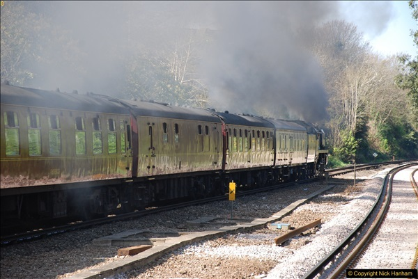 2017-04-08 34046 Braunton as 34052 Lord Dowding at Pokesdown, Bournemouth, Dorset. (17)125