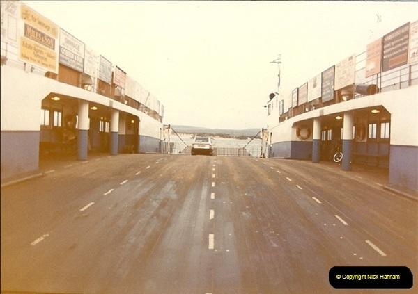 1982-12. Only car on the ferry. Sandbanks, Poole, Dorset.058