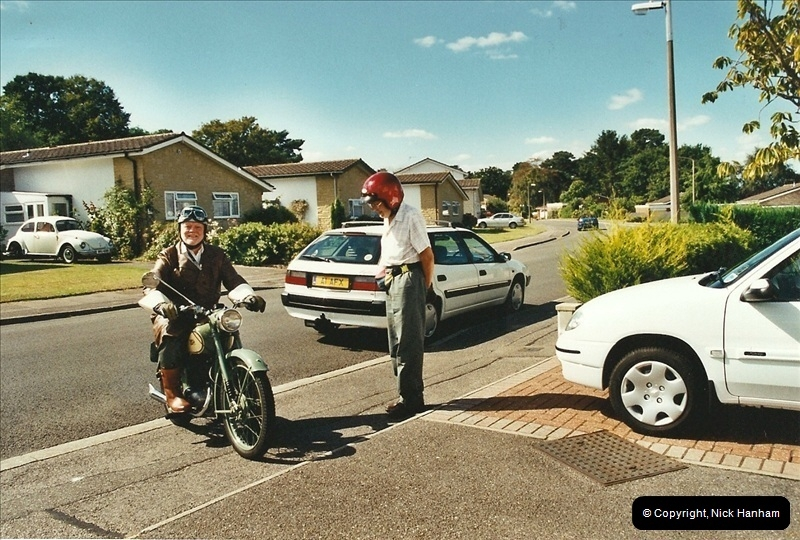 2004-06-29 Your Host riding his BSA Bantam 125cc Motor Cycle. Parkstone, poole, Dorset.  (5)542542