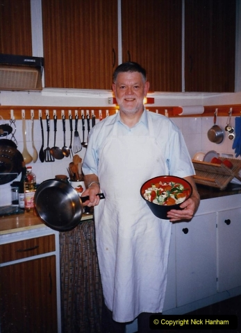 1995 France October. (70) Your Host cooking our last meal in France. 70