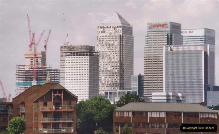 2002 July - London. (82) Canary Wharf from Grenwich.82