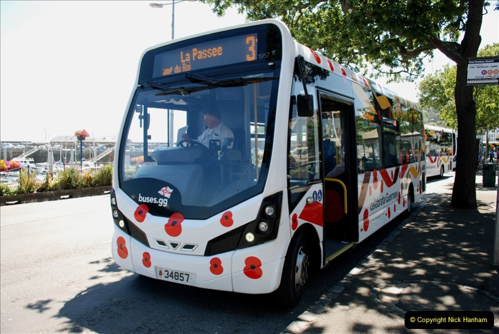 2019 June 28 to 05 July P&O MV Oriana France, Spain and Guernsey. (137) Guernsey CI. The Poppy Bus. 137