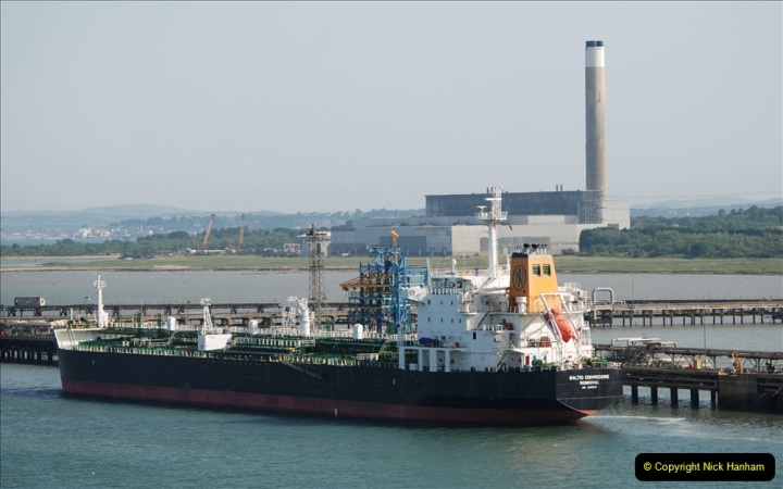2019 June 28 to 05 July P&O MV Oriana France, Spain and Guernsey. (148) On the way. Fawley Power Station and oil terminal quay. 148