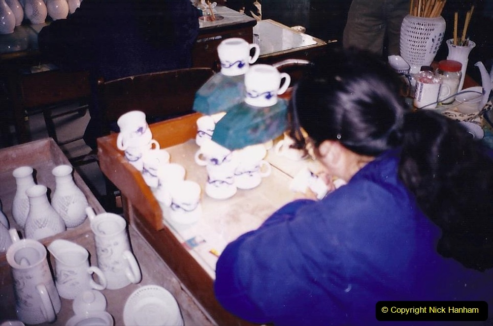 China 1993 April. (62) Number 1 Pottery Factory in Wuxi. Loading a kiln. 059
