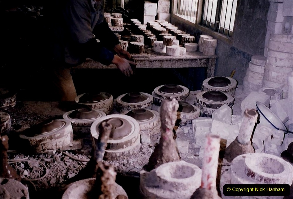 China 1993 April. (64) Number 1 Pottery Factory in Wuxi. Loading a kiln. 062