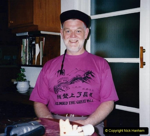 China 1993 April China into Hong Kong. (183) Your Host with the hat purchased in China.183