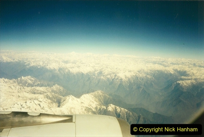 Pakistan and China 1996 June. (62) Karachi to Beijing. Mount Everest in the distance.062