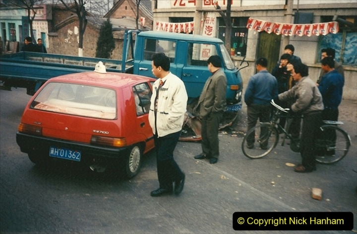 China 1997 November Number 1. (151) From the shed back to the branch for linesiding. A bit of bother between two vehicles. 151