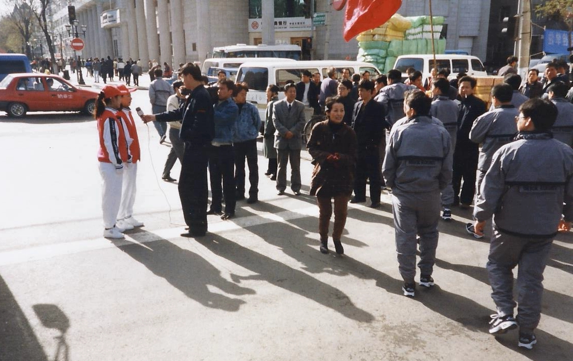China 1999 October Number 1. (40) Harbin. Youth gathering and local TV interview.