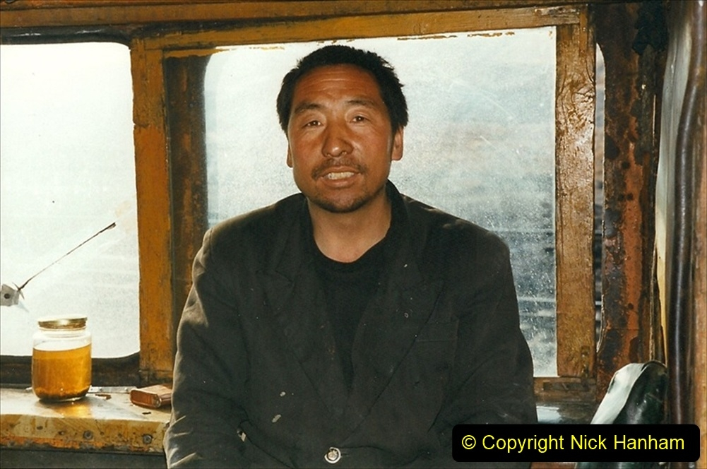 China 1999 October Number 1. (162) At Jalainur Opencast Coal Mine. SY crew invite me aboard to take tea.