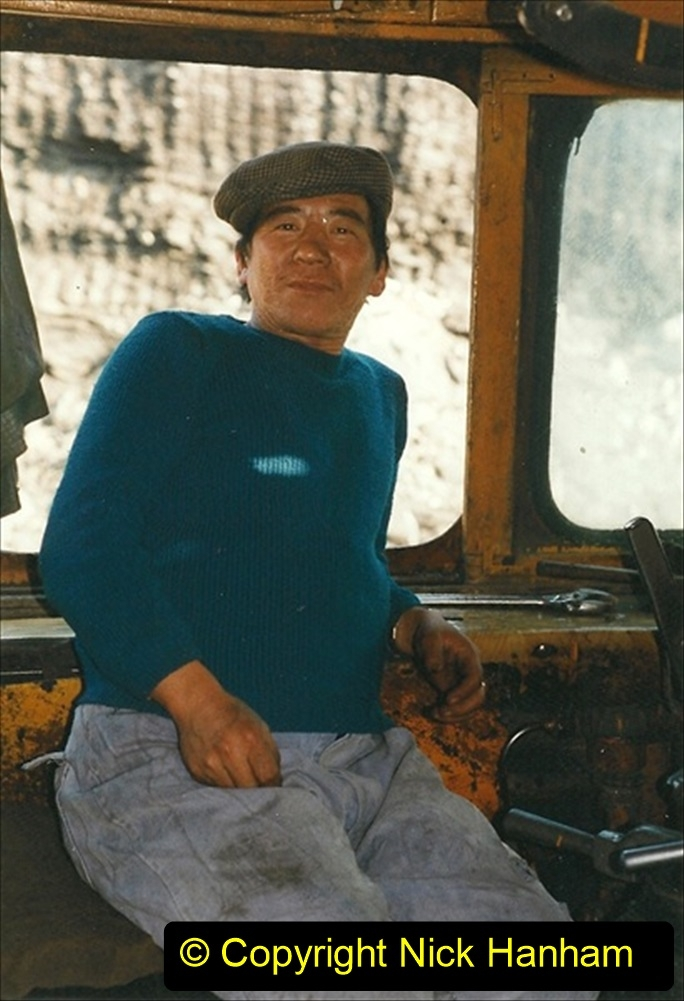 China 1999 October Number 1. (164) At Jalainur Opencast Coal Mine. SY crew invite me aboard to take tea.