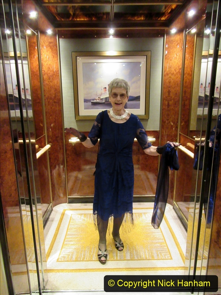 2019_11_03 to 17 Cunard's Queen Mary New York to Southampton @ first Literature Festival at Sea.  (135) In the lift to our Stateroom.135