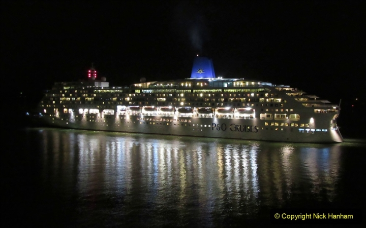2019-11-03 to 17 Cunard's Queen Mary Southampton to New York. (152) P&O ship Ventura leaving harbour. 152