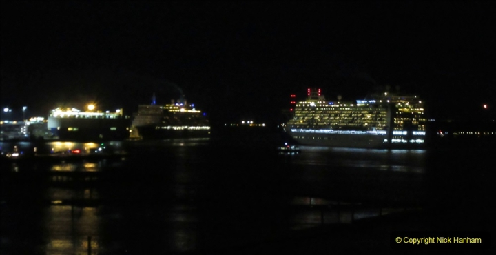 2019-11-03 to 17 Cunard's Queen Mary Southampton to New York. (154) P&O ship Ventura leaving harbour. 154