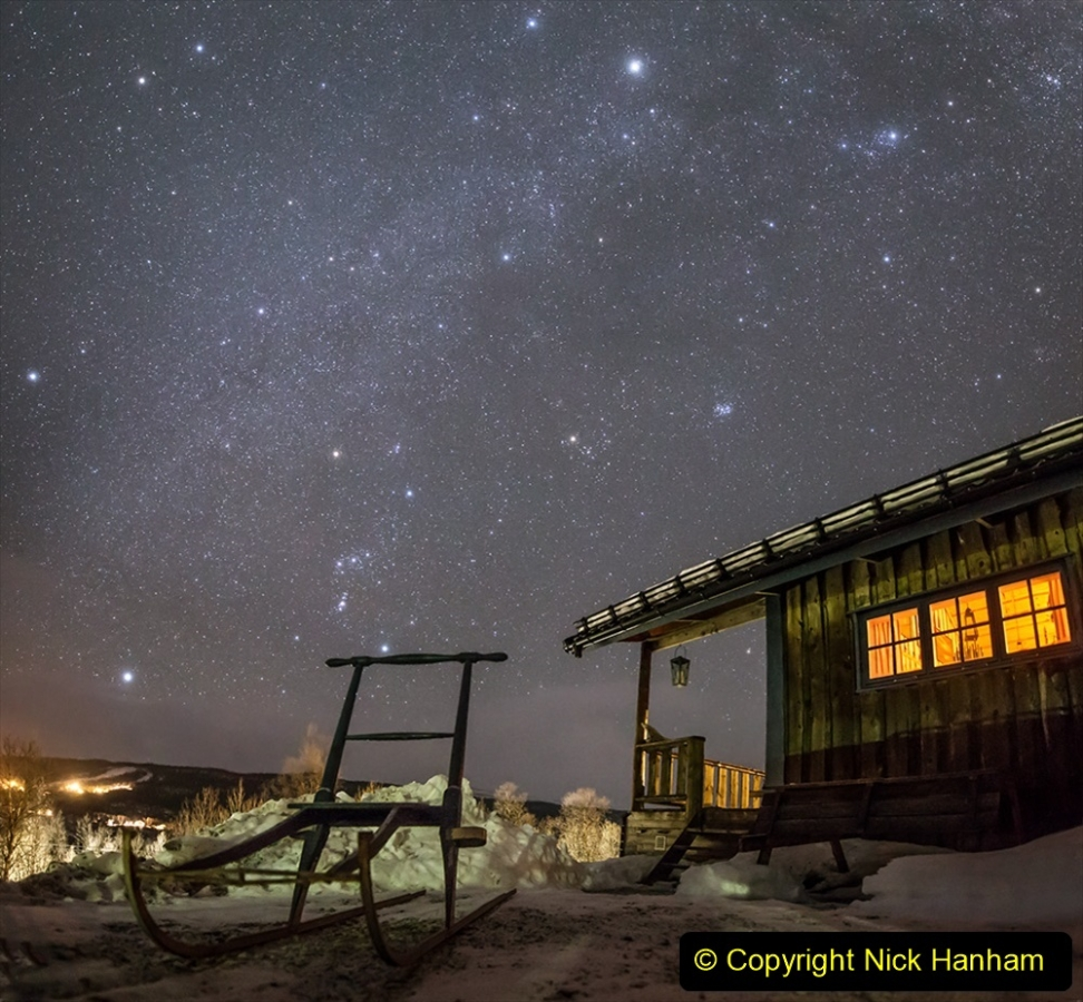 Kicksled outside mountain cabin in Sweden Tänndalen 2019-01-06