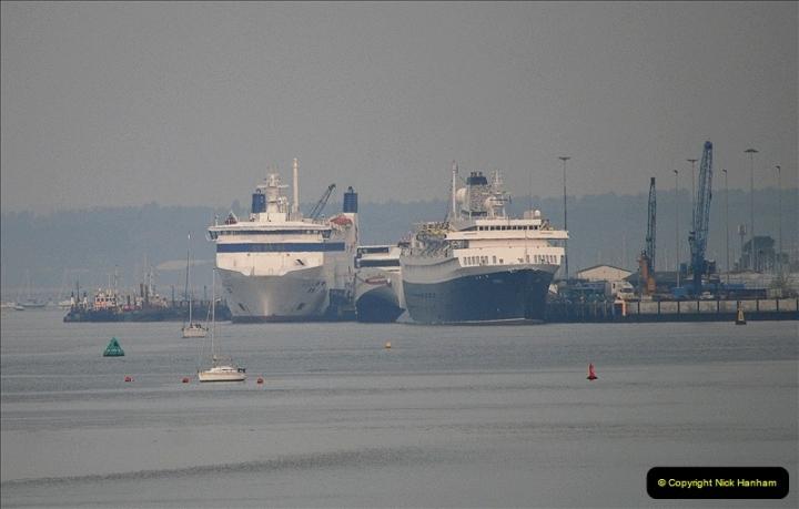 2019-04-22 Poole Harbour - MV Astoria, Brittany Ferries Barfleur & Condor Ferries Liberation. (3) 033