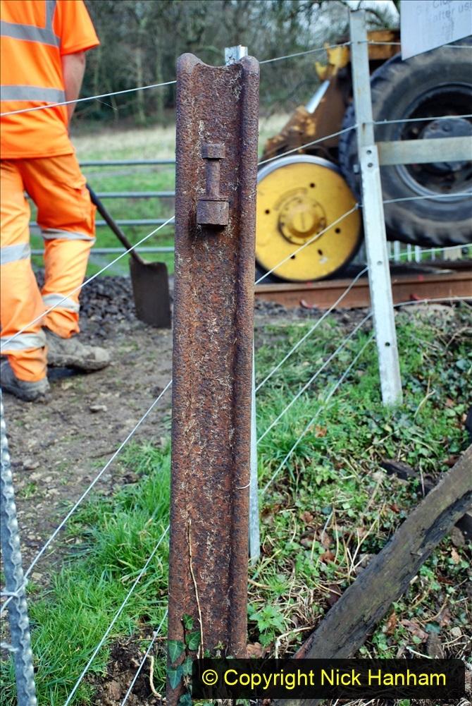 2020-01-09 Track renewal Cowpat Crossing to just beyond Dickers Crossing. (69) Very old bull head rail used as gate post. 069