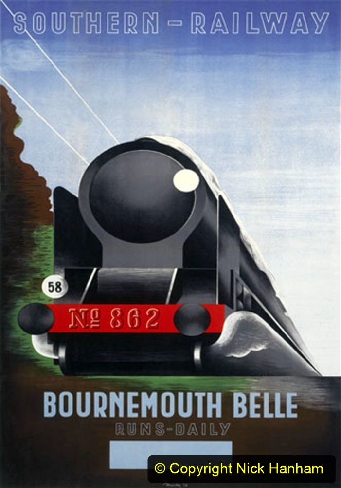 Poster produced for Southern Railway (SR) to promote the daily service on the Bournemouth Belle steam engine. Artwork by Marton.