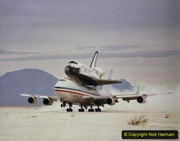 OV-102 on 747 SCA #905 departs White Sands, NM after STS-3 April/82 NASA DFRC EC82-22205 (copy neg)