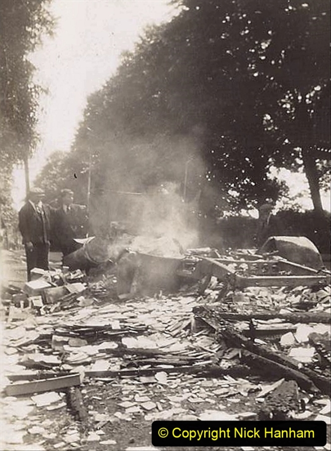 My late Stepfather Jocelyn Hanham. (53)  Photographs of accidents he took on his travels. Fire near Basingstoke. 1928. 053