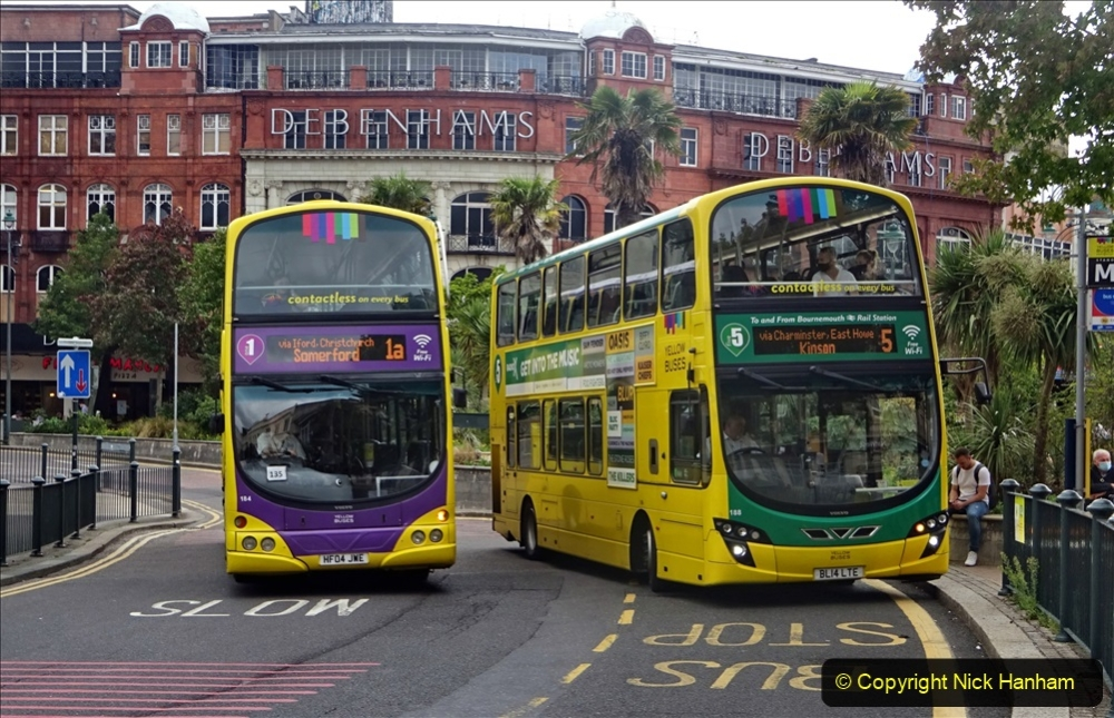 2020-09-09 More Yellow Buses Bournemouth Square. (24) 196