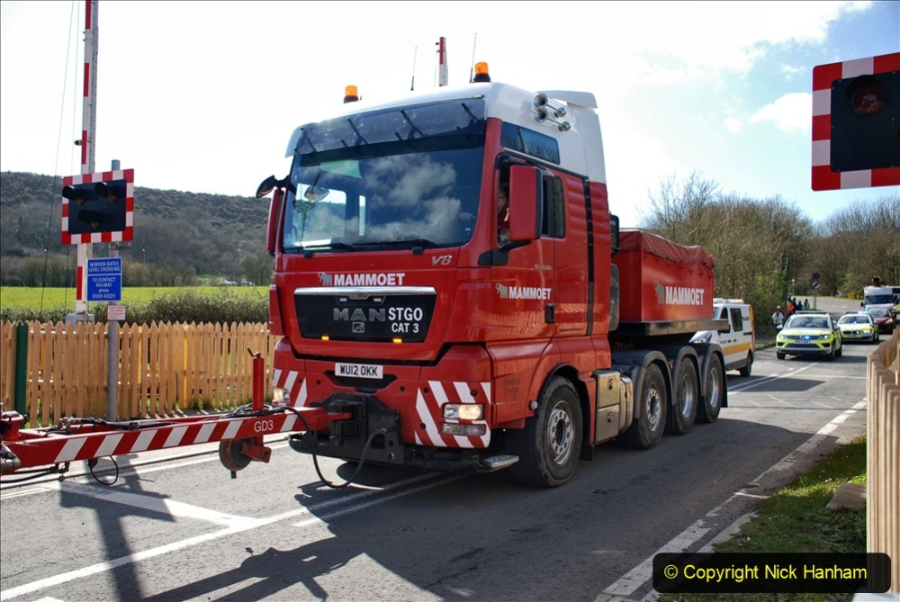 2020 March 16 Norden Gates on the Swanage Railway a very large load for Wytch Farm Oil Field (8) 047