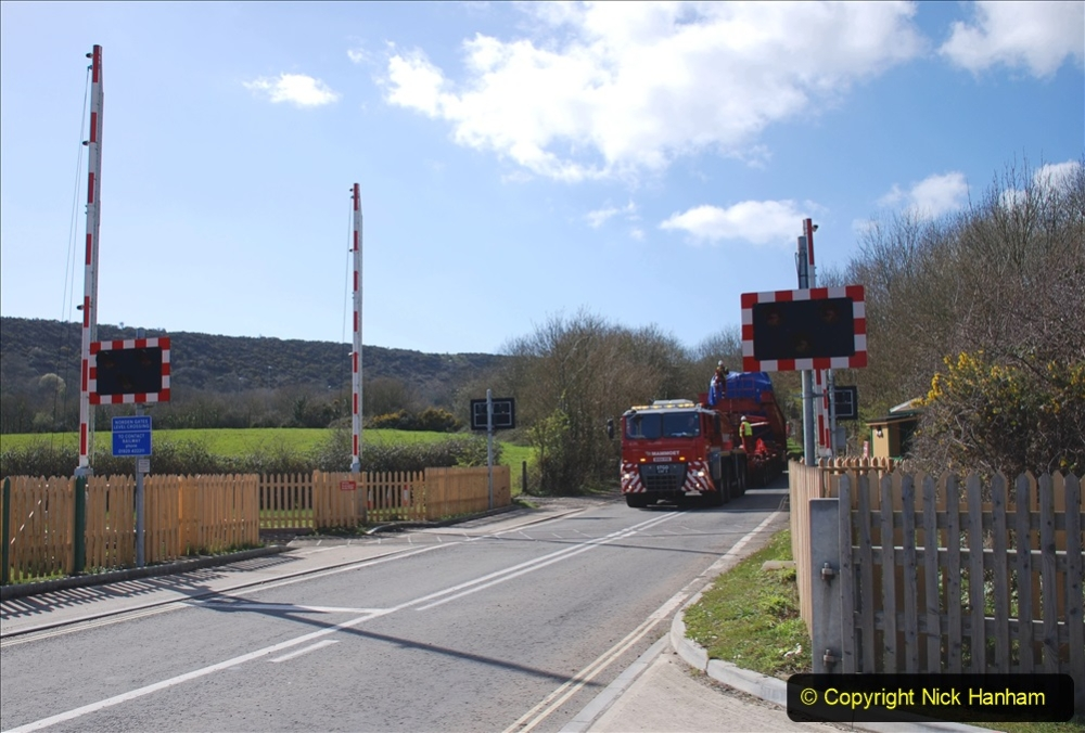 2020 March 16 Norden Gates on the Swanage Railway a very large load for Wytch Farm Oil Field (9) 048