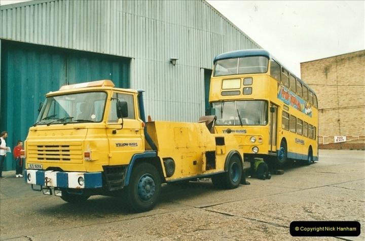 2002-06-30. 100 Years of Yellow Buses Open Day, Mallard Road Depot. Bournemouth, Dorset.    (90)105