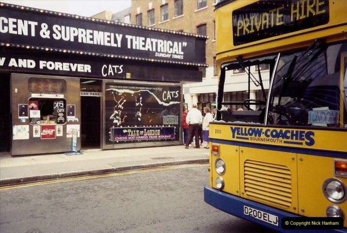 1990 Miscellaneous. (30) We visit Cats in London. Our bus suffers a shattered windscreen on the M3.0030