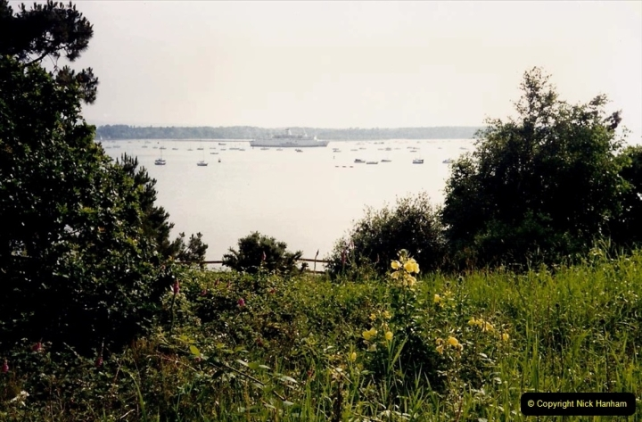 1993 Miscellaneous. (408) Evening Hill, Poole, Dorset with Brittany Ferries ship arriving.0412