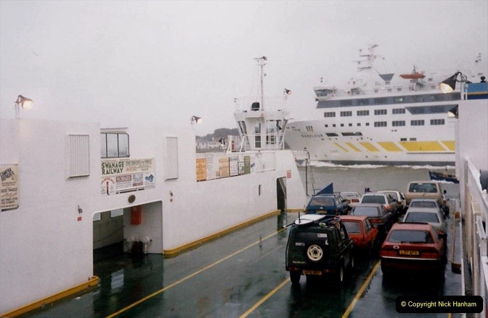 1995 Miscellaneous. (19) Your Host on the Sandbanks Ferry with the Barffleur passing on its way to Cherbourg.0518