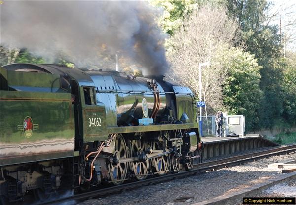 2017-04-08 34046 Braunton as 34052 Lord Dowding at Pokesdown, Bournemouth, Dorset. (13)121