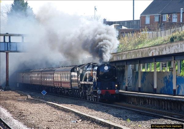 2017-04-08 34046 Braunton as 34052 Lord Dowding at Pokesdown, Bournemouth, Dorset. (3)111