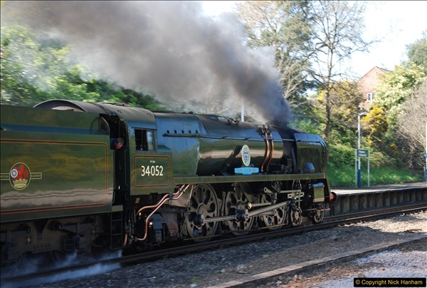 2017-04-08 34046 Braunton as 34052 Lord Dowding at Pokesdown, Bournemouth, Dorset. (12)120