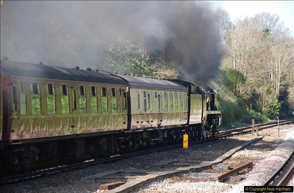 2017-04-08 34046 Braunton as 34052 Lord Dowding at Pokesdown, Bournemouth, Dorset. (16)124