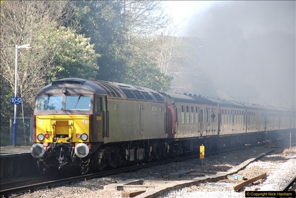 2017-04-08 34046 Braunton as 34052 Lord Dowding at Pokesdown, Bournemouth, Dorset. (19)127