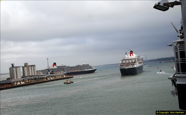 2015-05-03 Three Queens leave Southampton. (99)099